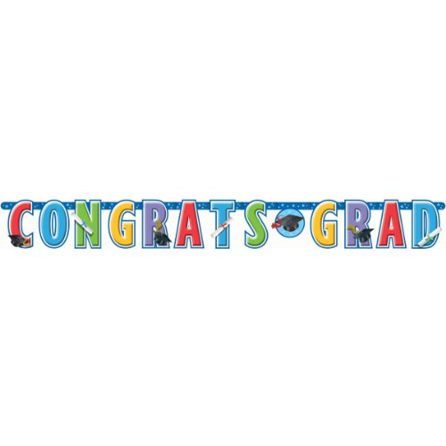 Amscan Mens Congrats Grad Giant Graduation Banner Black Medium