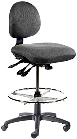 "BodyBilt J206 F1 Black Fabric Stool with 5.5"" Height Adjustment, 12"" Length x 14"" Width Backrest, Grade 3"