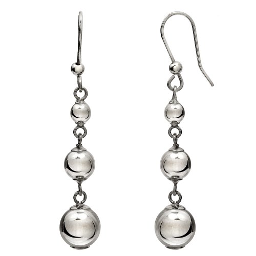14k White Gold Graduated Polished Bead Earrings