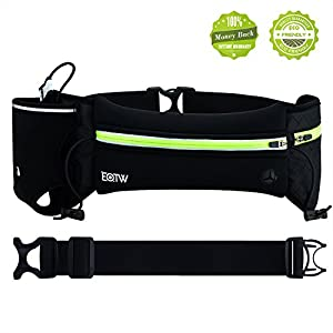 Hydration Belt for Running, EOTW Hydration Waist Pack, Waist Pouch for Hiking Running Jogging Climbing, Hydration Bag with One Side Pouch & One Water Bottle Holder & Gel Holder - 3M Reflective Strips - Fits iPhone 6s/6 Plus, Samsung GalaxyS6/5 Note 4/3/2