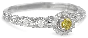 Sterling Silver Yellow and White Diamond Fashion Ring (0.25 cttw, H-I Color, I2-I3 Clarity) by Delmar Mfg LLC