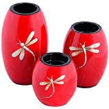 Asian Artisans Wood With Lacquer Coating Candle Holders - (Large,Red) - B01F8GHKBW