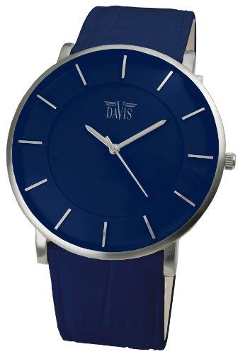 Davis - Montre Design Unisex Bleue - Quartz - Boîte Extra plate - Bracelet en Cuir Bleu