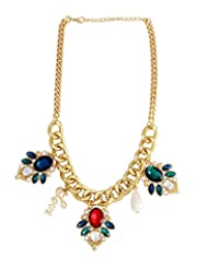 Young & Forever Colorful Gems Love Charm Gold Plated Necklace By CrazeeMania