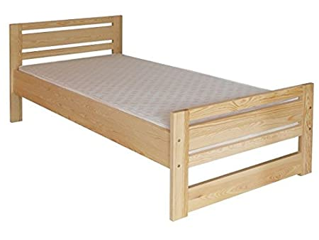Children's bed / Youth bed 72A, solid pine, clear finish, incl. slatted bed frame - 80 x 200 cm