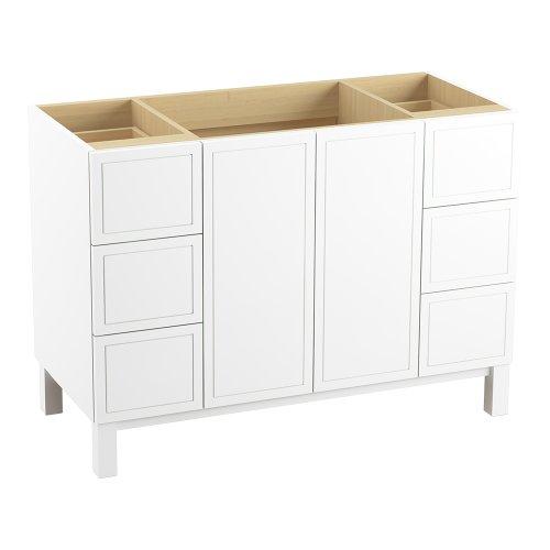 Kohler K-99509-Lg-1Wa Jacquard Vanity With Furniture Legs 2 Doors And 6 Drawers, 48-Inch, Linen White