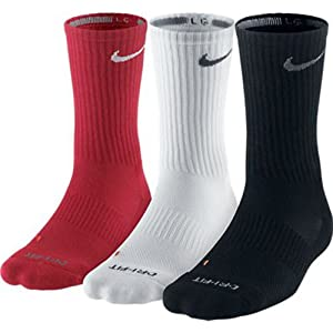 Nike Dri-FIT Half-Cushion Crew Socks (Large, Red/White/Black)