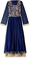 Georgette Gown Straight Dress Material (DV187-10006_Blue)