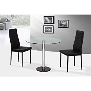 Romford 90cm round glass dining table with 2 chairs in black two person dining set 2 dining - Two person dining table set ...