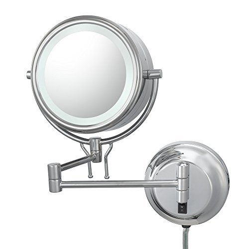 Kimball And Young 91445 Double-Sided Contemporary Wall Mirror Plug-In, 1X And 5X Magnification, Chrome front-629107