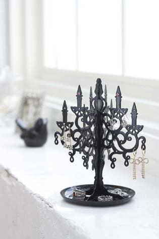 Black Metal Chandelier Tree Stand For Jewelry And Accessories / Earring Holder front-92546