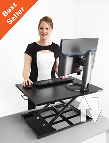 X-ELITE PRO Height Adjustable Sit / Stand Desk - Converts your Existing Desk into a Standing Desk! (Black)