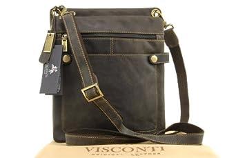 Visconti Cross-Body Midi Messenger Bag A5 - Hunter - Oil Brown (Mud) - 18512