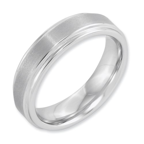 White Dura Tungsten Ridged Edge 6mm Brushed And Polished Band, Size 11