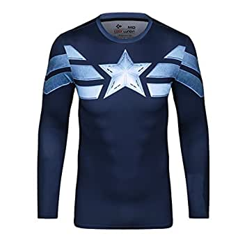 Cody Lundin Men's Captain America Long Sleeve T-shirt Tights Sports Shirt Cool