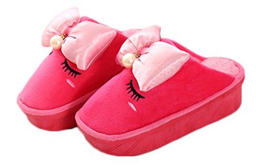 CNYYWISHSTYLE Winter House piattaforma di 5 centimetri pantofole piuttosto dolce con papillon e perle per le donne