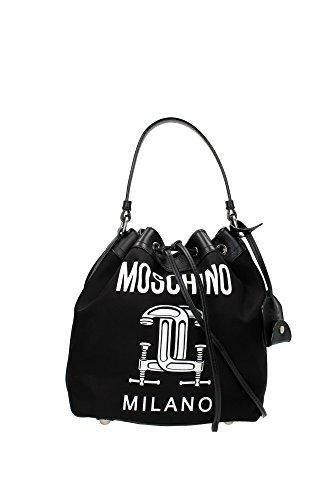 Handtasche Moschino Damen Stoff Schwarz und Weiß A759782501555 Schwarz 17x24x27 cmEU thumbnail