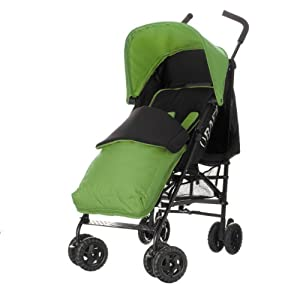 Obaby Atlas Black/Grey Stroller and Lime Footmuff