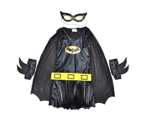 Girls Black Fancy Batgirl Costume for Halloween, Includes attached Cape