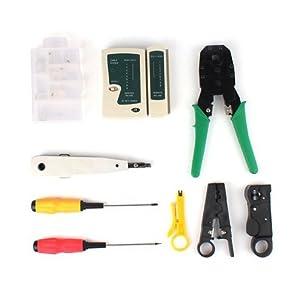 Xgunion 9pcs Rj45 Rj11 Cat5 LAN Network Tool Kit Crimper Stripper Cable Tester Set