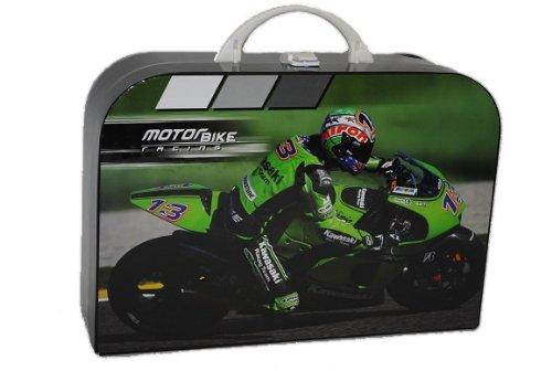 Kinderkoffer Groß Motorrad 34 cm schwarz grün