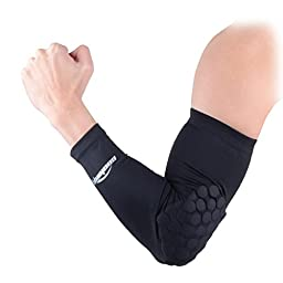 COOLOMG Combat Basketball Pad Protector Gear Shooting Hand Arm Elbow Sleeve Adult/Child, Black, Medium
