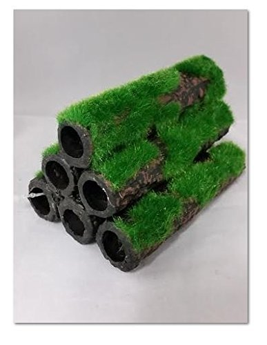 Betta Aquarium Frippery Moss Covered Ceramic Tubes Ideal For Breeding 6 Tubes In One