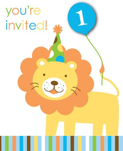 Creative Converting Sweet at One Boys 1st Birthday Party Invitations, 8 Count - 1