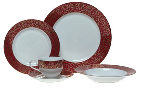 Mikasa Parchment Red Formal Holiday China 5-Piece Place Setting, Service for 1