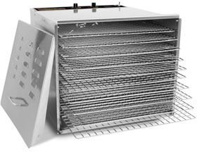 """Stainless Steel Food Dehydrator - 10 Trays: Chrome Shelves with 3/4"""" Holes from KegWorks"""