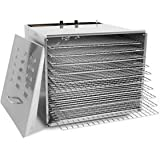 "Stainless Steel Food Dehydrator - 10 Trays: Chrome Shelves with 3/4"" Holes"