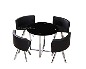 HD wallpapers galaxy black glass dining table and 4 black chairs