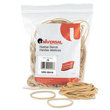 Rubber Bands, Size 16, 2-1/2 x 1/16, 475 Bands/1/4lb Pack