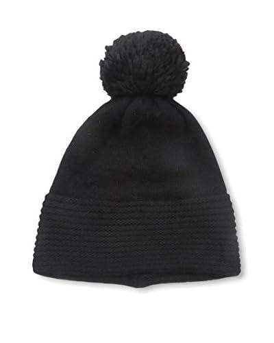 Portolano Women's Knit Hat with Pom Pom, Black