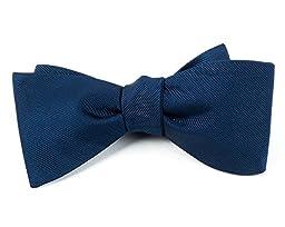 100% Woven Silk Navy Blue GrosGrain Solid Pre-Tied Bow Tie