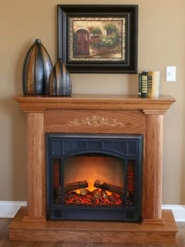 """Compact Electric Fireplace With Heater And Remote Control - 26"""""""