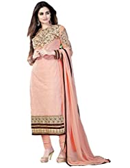 Exotic India Tropical-Peach Self Embroidered Long Choodidaar Kameez Suit - Pink