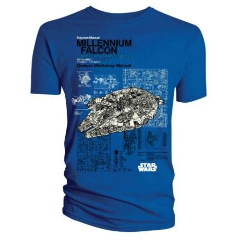 Official T Shirt STAR WARS Blue MILLENNIUM FALCON M