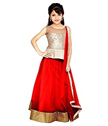 The Fashionup Red semistitched LenghaCholi for11-12year Girls with dupattas