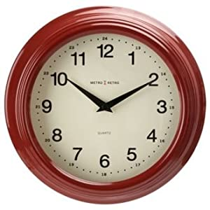 Red Retro Wall Clock Kitchen Home