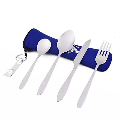 OUTDOOR FREAKZ Outdoor Camping Cutlery made of Stainless Steel with Neoprene Bag (blue +)