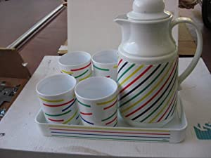 Retro Decorative Picnic Drink Set with Tray -Not for drinking from For decoration only. Contains 4 16oz Cups, a 34oz Thermal Pitcher and a 12 3/4 inch x 9 1/2 inch Serving Tray - Has Multi-color stripes as design - DECORATION ONLY