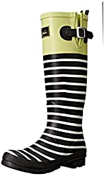 Joules Women\'s Wellyprint Rain Boot, Lime Block, 9 M US
