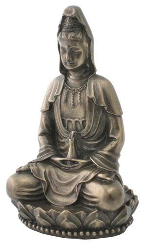 3 Inch Hand Painted Resin Small Sitting Quan Yin Statue, Bronze by TLT