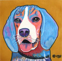 Barkley Beagle Dog Decorative Ceramic Wall Art Tile 8x8
