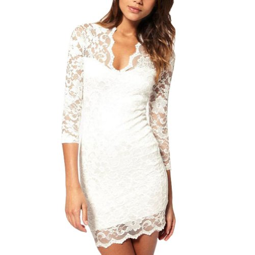 Vobaga White Women's Lace Dress V Neck Slim 3/4 Sleeve Cocktail Party Dress L Picture