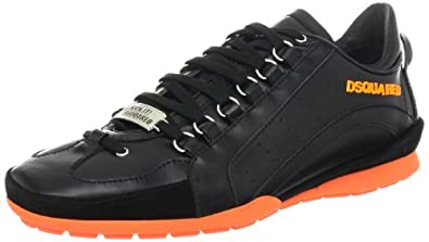 DSQUARED2 Men's 551 Vitello Sport Sneaker,Nero/Nero/Arancio Fluorescent,41 EU/9 M US