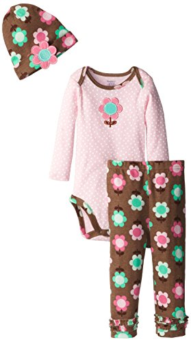 Gerber Baby-Girls Infant 3 Piece Girl Bodysuit Cap Snap Closure And Legging Set, Flower, 12 Months front-240273