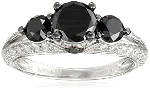 10k White Gold Black and White Diamond Engagement Ring (2 Cttw, G-H Color, I2-I3 Clarity), Size 6