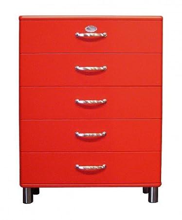 Kommode Malibu 5295 mit 5 Schubladen in rot Sideboard von Tenzo
